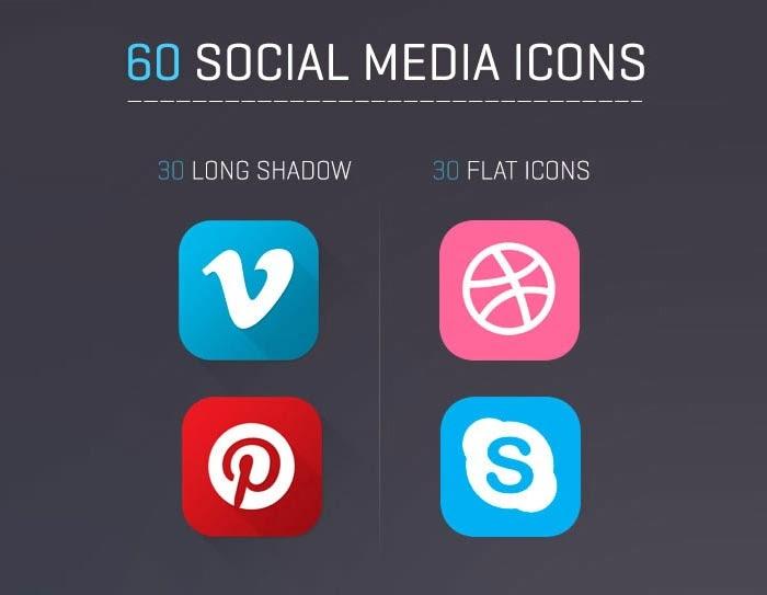 60 Free Flat and Long Shadow Social Media Icons