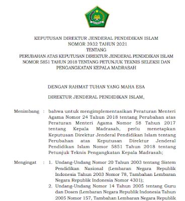 Juknis Seleksi dan Penganggkatan Kepala Madrasah Tahun 2021