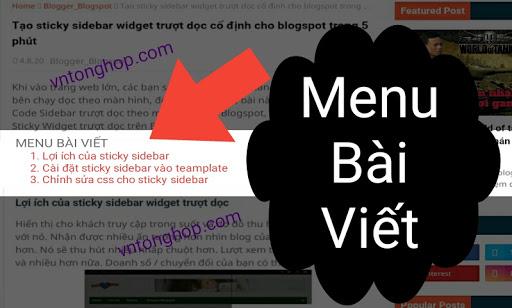 Tạo menu bài viết và liên kết neo - anchor link cho blogspot