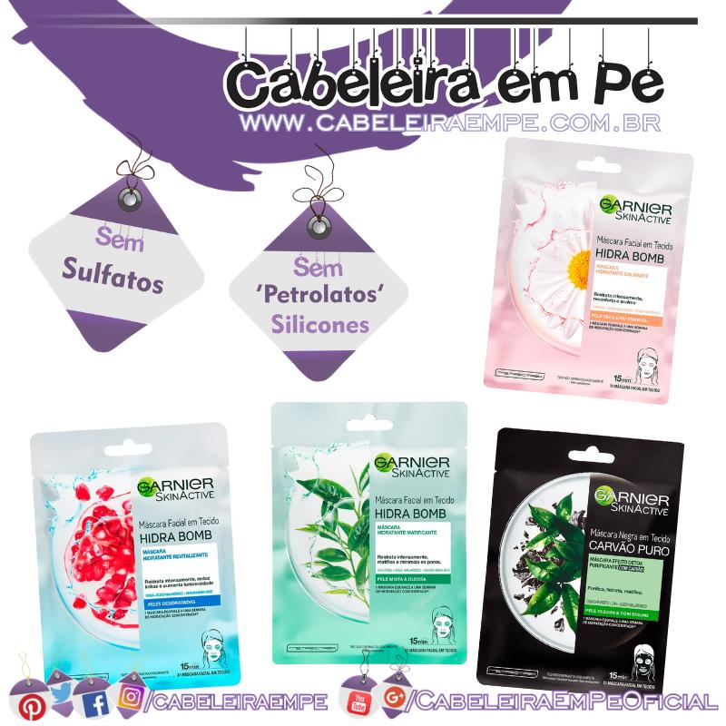 Máscaras de Tecido Detox (Carvão Puro), Calmante (Camomila), Matificante (Chá verde) e Revitalizante (Romã) - Garnier