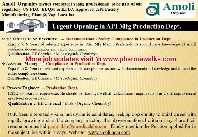 Amoli Organics hiring for Production department | Apply Now | Pharmawalks