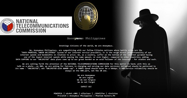 national telecommunications commission hacked by Anonymous Philippines