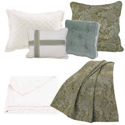 Arlington paisley Euro sham and throw, Arlington velvet pillow, Vintage White linen quilt and pillow sham