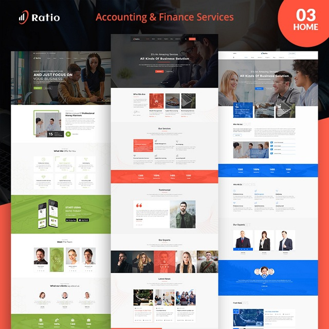 Ratio account services PSD template