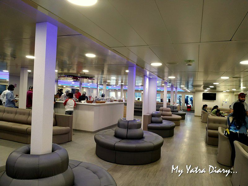 High class luxury ac cafetaria in the M2M Ro-Ro ferry Mumbai to  Alibagh