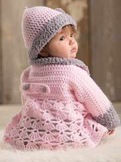 Crochet Pink Baby Sweater Set
