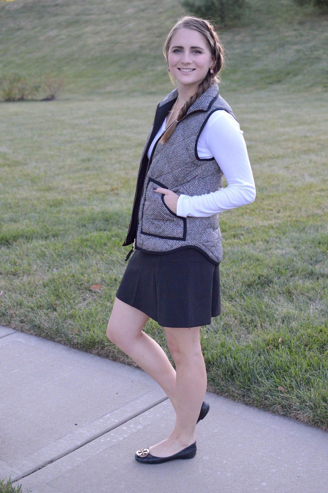 black skirt with the herringbone vest