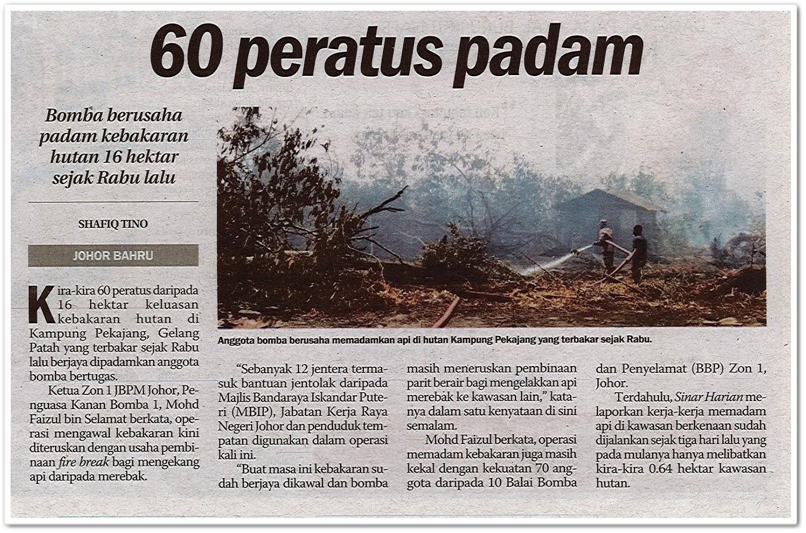 60 peratus padam - Keratan akhbar Sinar Harian 25 Ogos 2019