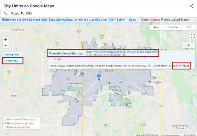 Share Map button on City Limits on Google Maps tool