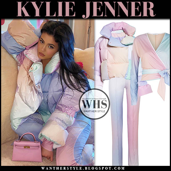 Kylie Jenner in lavender pink pastel ombre puffer jacket and pants saks potts. winter fashion december 13