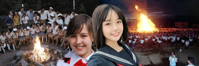 Советская пионерка (слева) на фоне пионерского костра и современная японская школьница (справа) на фоне костра на завершении ежегодного школьного спортивного фестиваля (кандзи 運動会) [фотоколлаж]