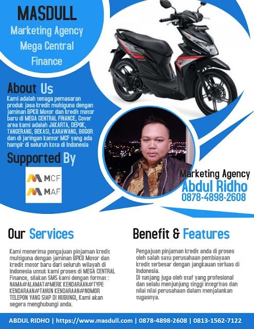 Kredit Multiguna Jaminan BPKB Motor di Mega Central Finance Area Jakarta, Depok, Tangerang, Bekasi, Bogor, Bandung, dan Banten