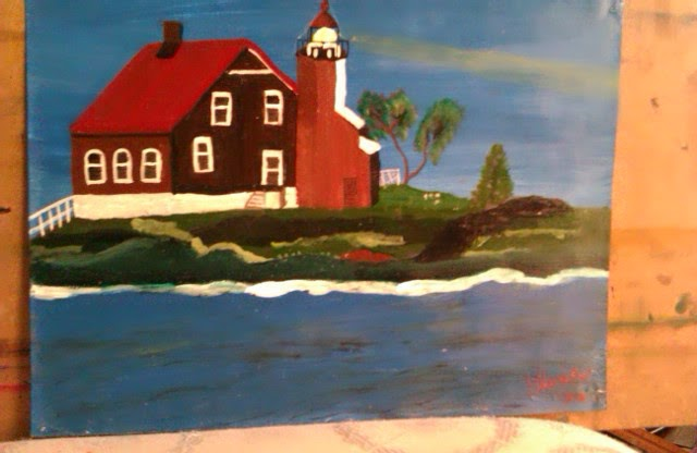 """Light house on island"" sketch by Gloria Poole"