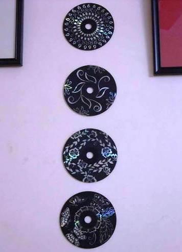 Kerajinan tangan Hiasan dinding cantik dari CD bekas