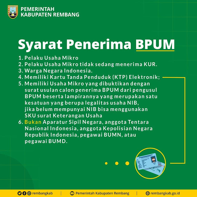 Cara Daftar Dan Syarat Penerima Bantuan Pelaku Usaha Mikro (BPUM) Rembang
