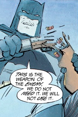 Comic-book panel of Batman saying, as he breaks a rifle in half, 'This is the weapon of the enemy. We do not need it. We will not use it.'