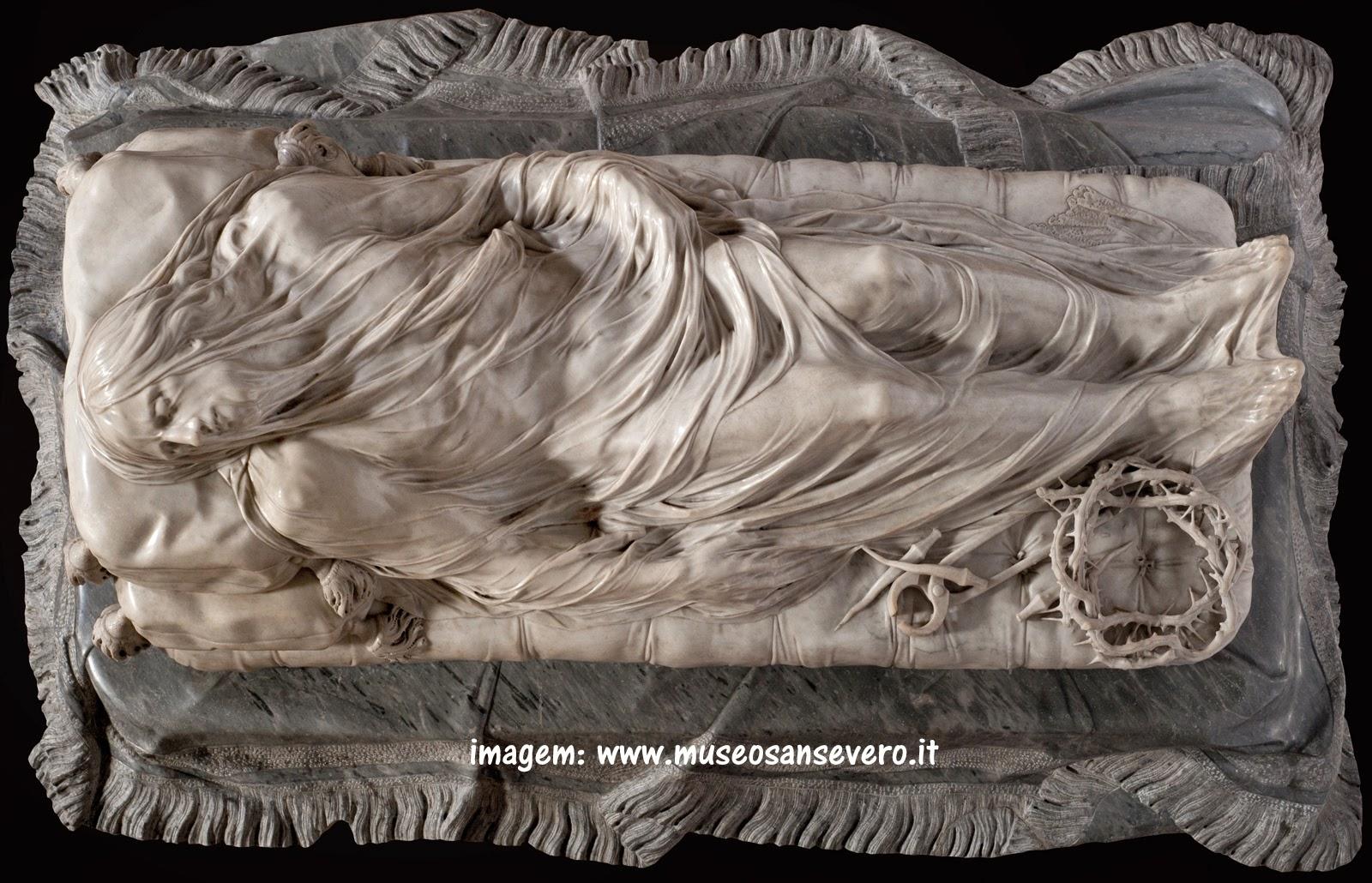 """Cristo Velato"""", escultura de Giuseppe Sanmartino, na Capela Sansevero, em Nápoles"""