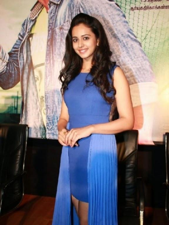 Beautiful Delhi Girl Rakul  Preet Singh Stills In Blue Dress