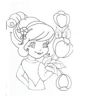 risco de boneca com tulipas para pintar