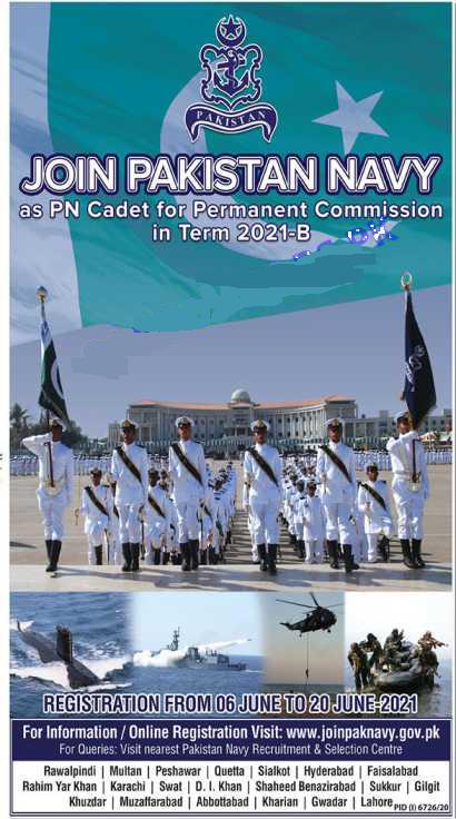 Join Pak Navy advertisement 2021 as PN cadet