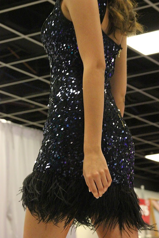 Navy Sequins and Black Feather Trim Dress