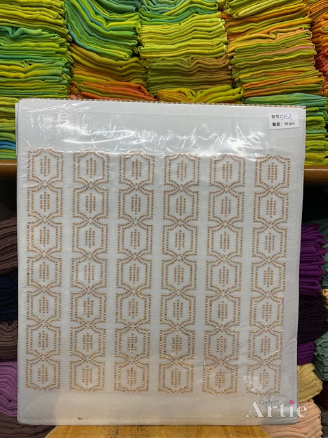 Sticker hotfix rhinestone DMC 6 jalur aplikasi tudung, bawal & fabrik pakaian motif kotak islamik