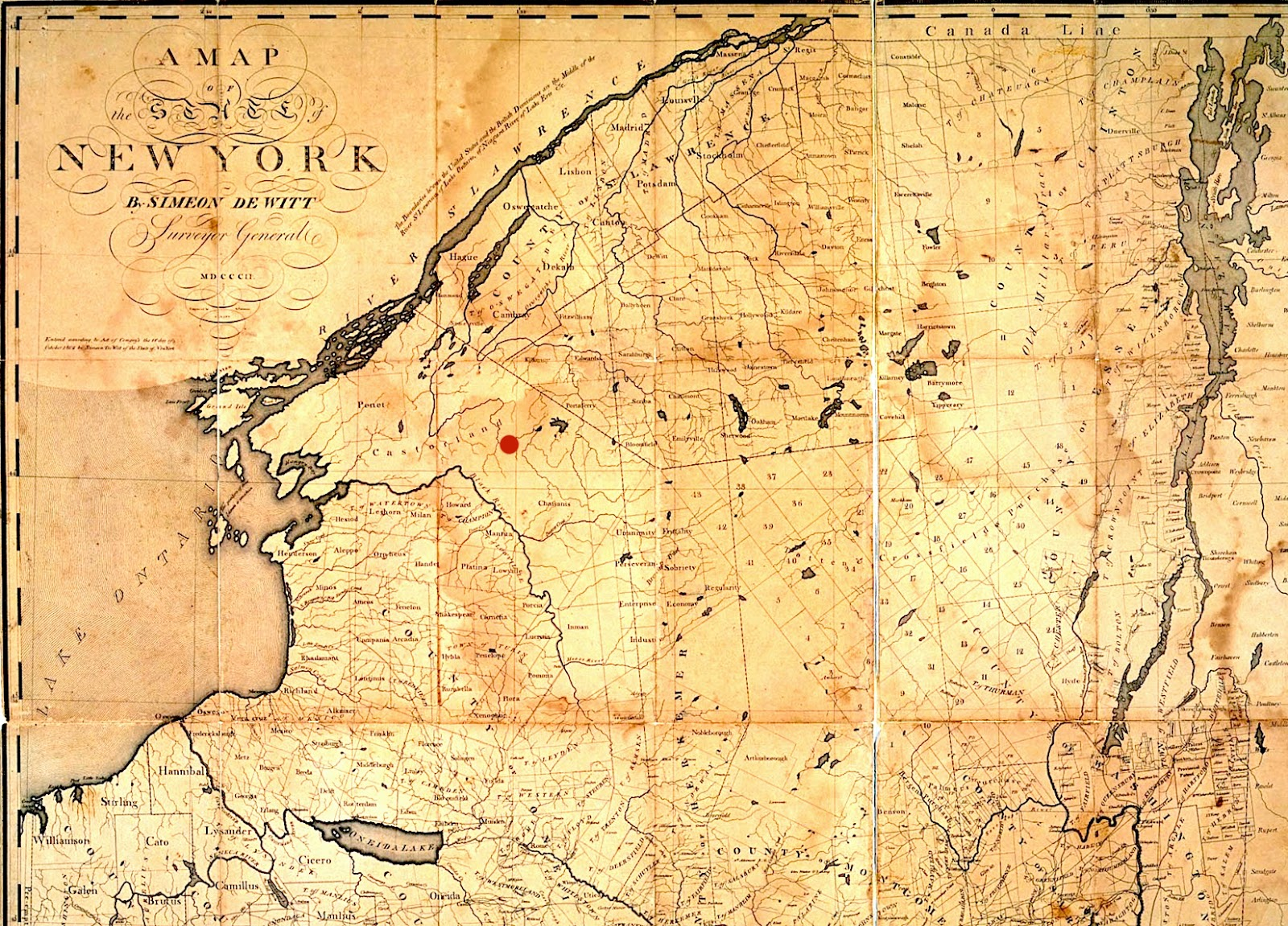 1802 new york map with castorland wilna is the red dot