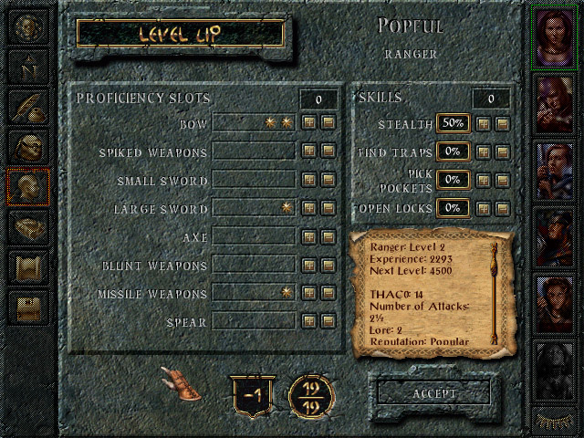 Baldur's Gate level up