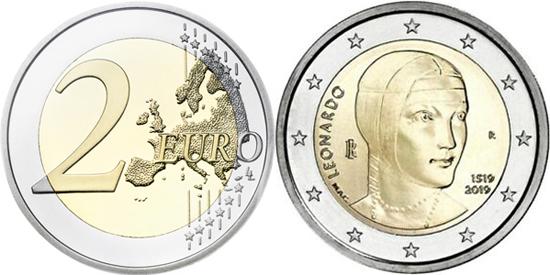Italy 2 euro 2019 Leonardo da Vinci