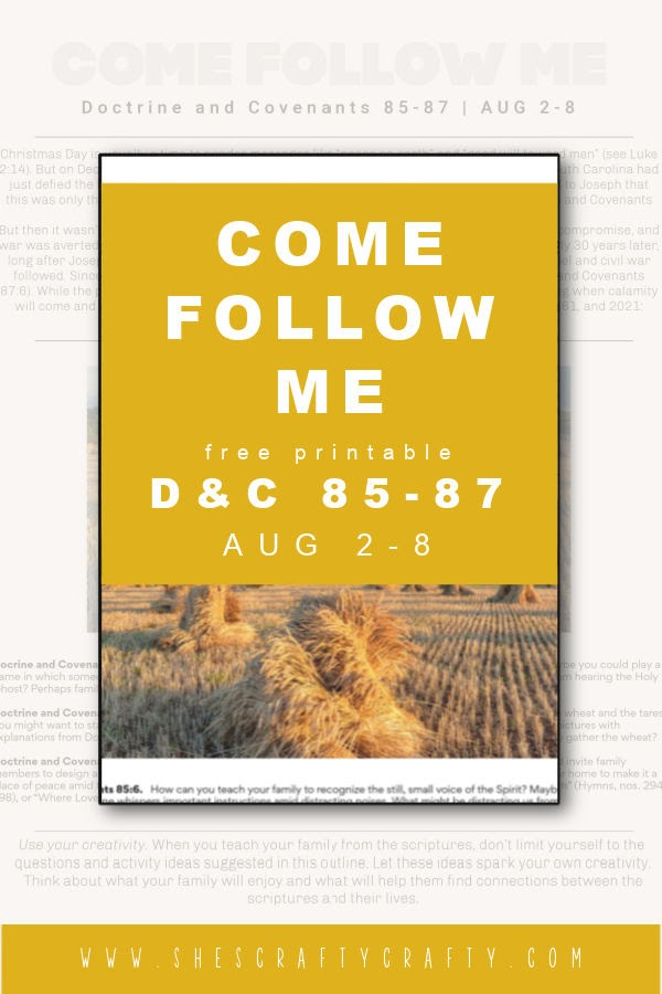 Come Follow Me study at home free printable Pinterest Pin