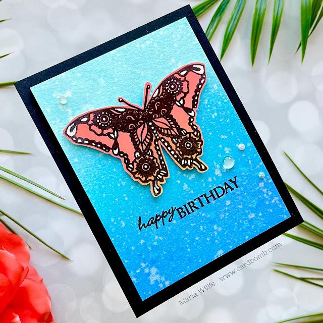 Cardbomb, Maria Willis,#ginakdesigns, Gina K Designs, butterflies, cards, cardmaking,inkblending,stamps, stamping,heat embossing,color, art, diy,distress oxide inks,