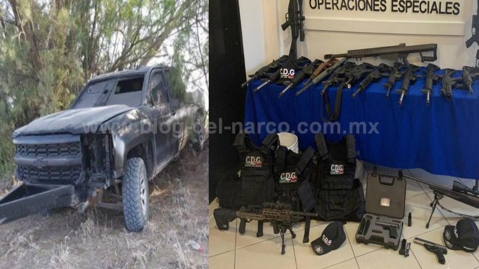 Grupo Jaguar de Operaciones Especiales aseguró en Tamaulipas arsenal, chalecos antibalas y trocas Monstruo con las siglas del Cartel del Golfo