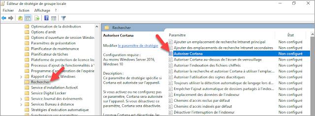 Désactiver, arrêter, Cortana, Windows 10, éditeur de stratégie de groupe locale, gpedit.msc, trucs et astuces.