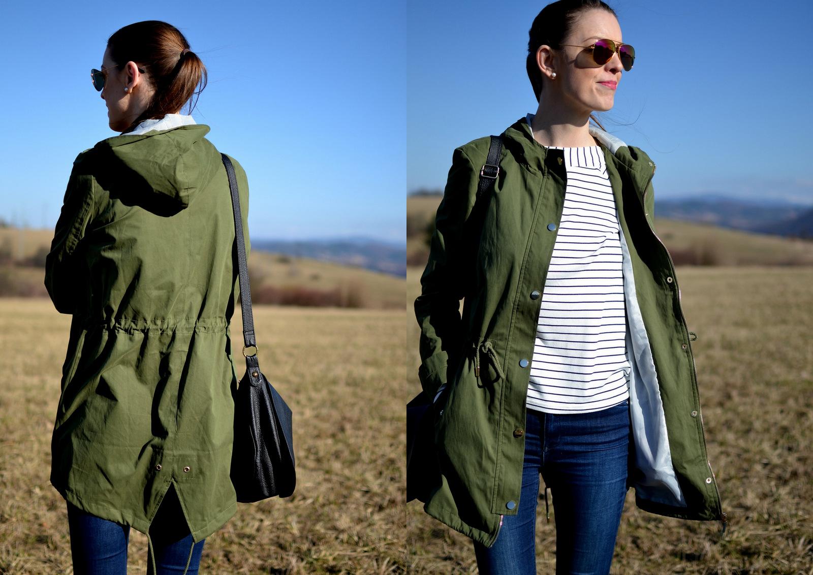 jarné pásikavé nákupy // army green spring jacket
