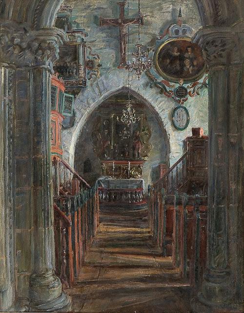 August Eiebakke - Interior fra Dale kirke i Luster