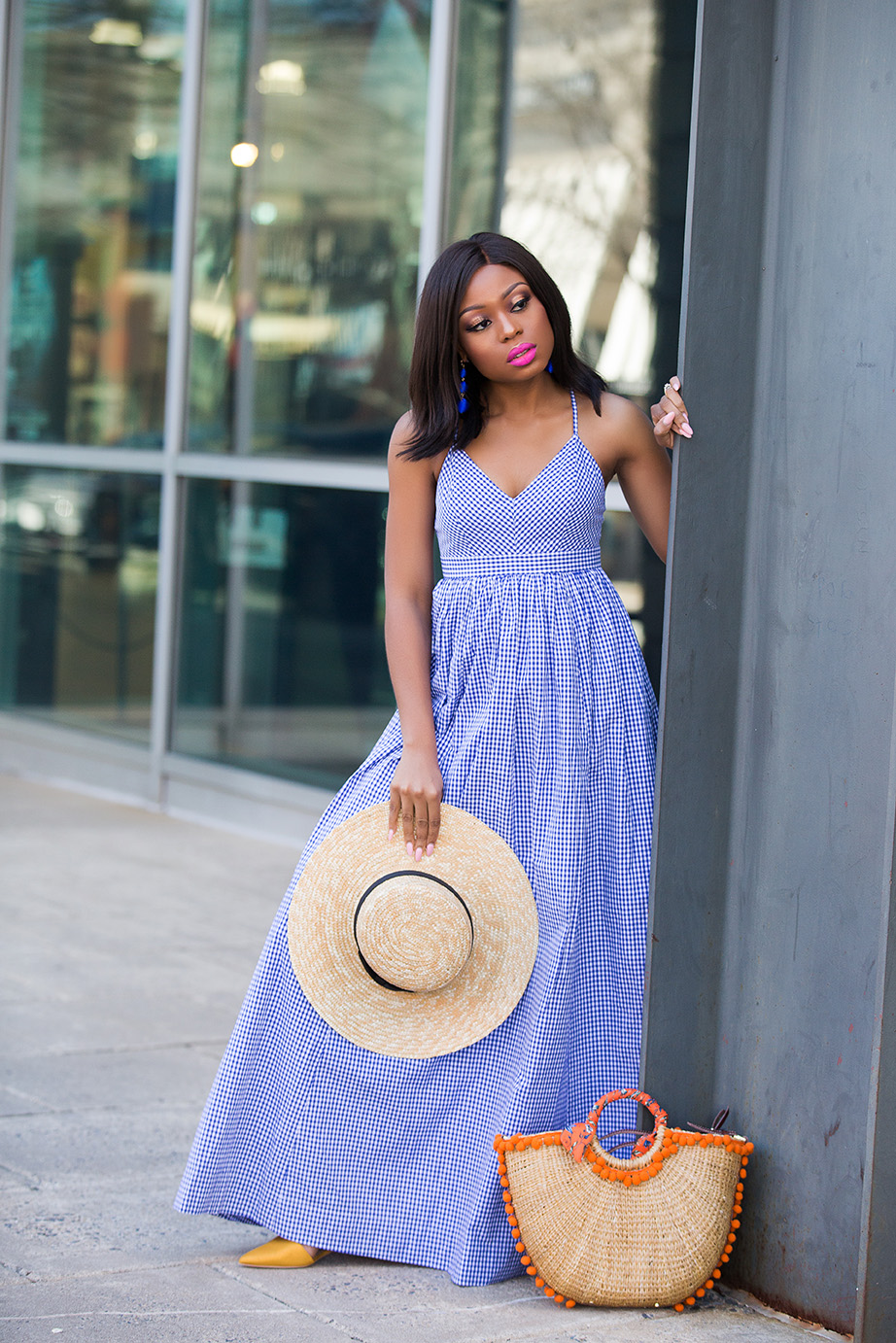 spring style in gingham maxi dress, www.jadore-fashion.com
