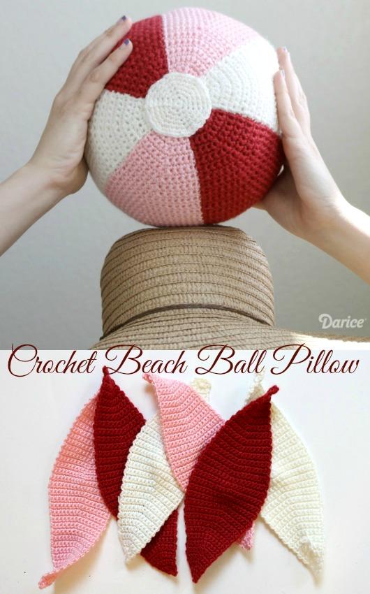 Crochet Beach Ball Pillow