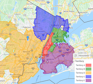 Example 3-digit ZIP Code map created with Custom Color-Coded Map tool