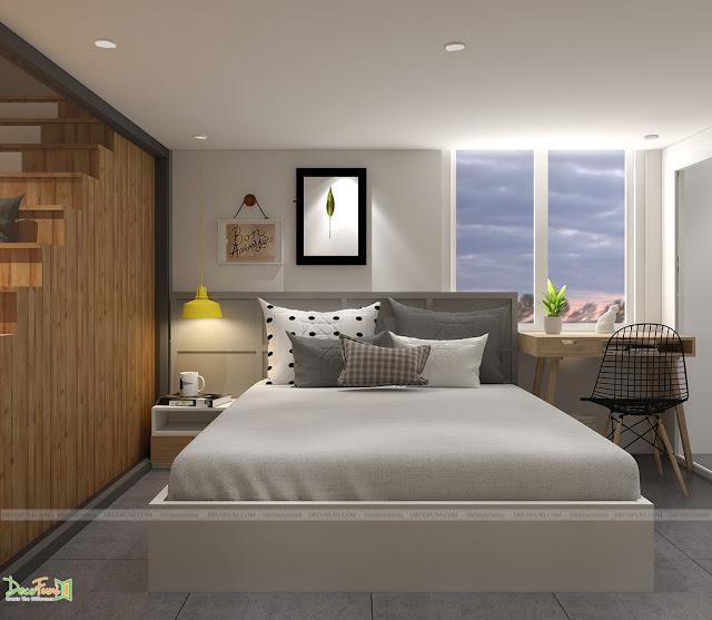 Phòng ngủ được thiết kế đơn giản, không gian mở - Thiết kế và thi công nội thất căn hộ chung cư Officetel
