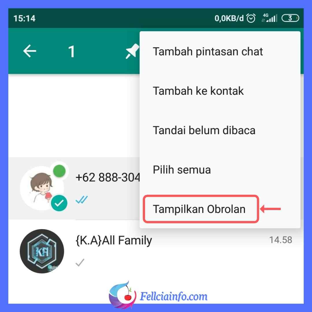 Cara Menampilkan Chat yang Disembunyikan