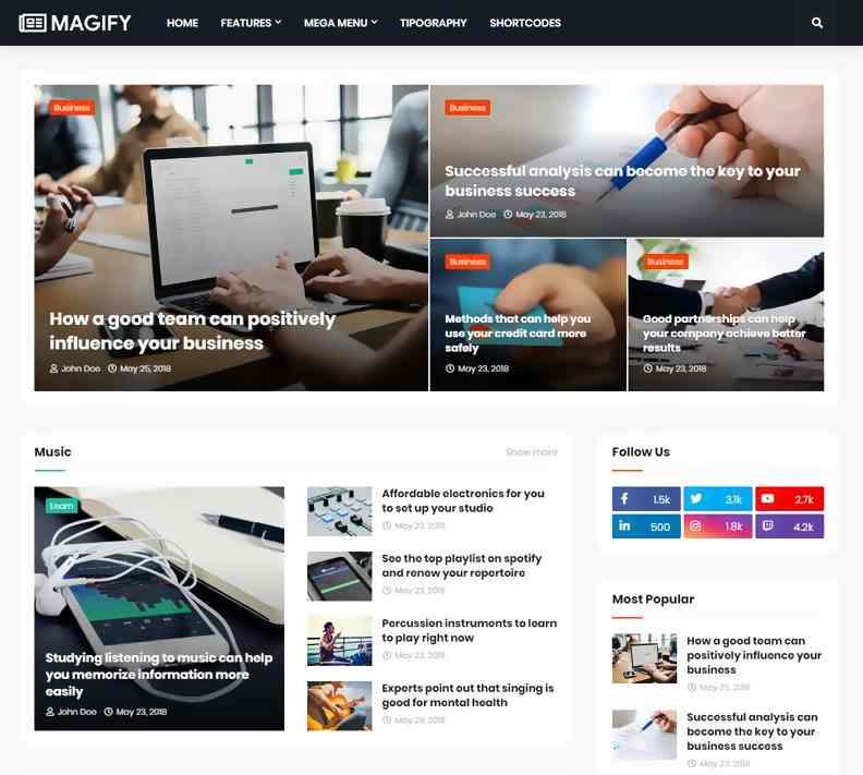 Magify Premium Responsive Blogger Template [Free Download] 2021