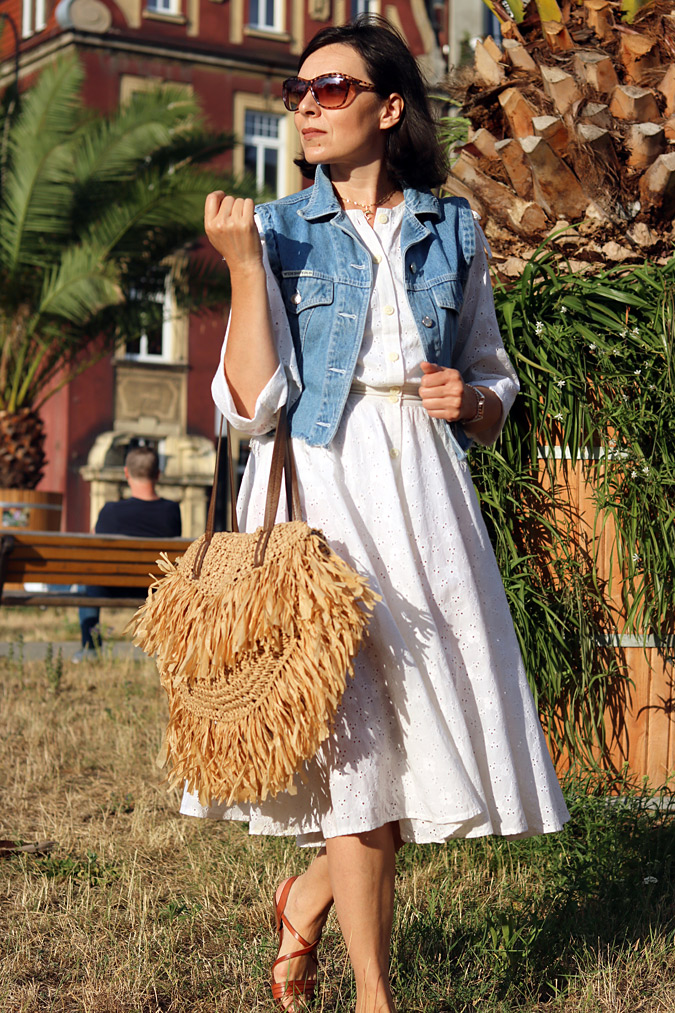 Torebka pleciona modna z trawa morska