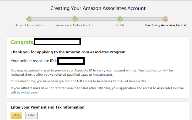 Amazon affiliate program join form