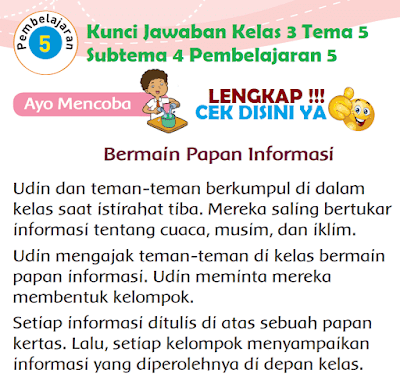 Kunci Jawaban Tematik Kelas 3 Tema 5 Subtema 4 Pembelajaran 5 www.simplenews.me