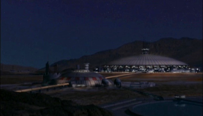 Mars in Babylon 5 - Mars Dome One at night