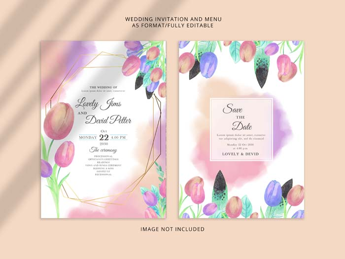 Beautiful Watercolour Floral Wedding Invitation PSD Template