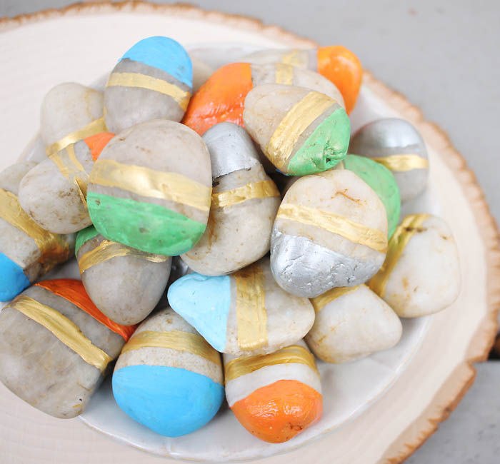 DIY Painted Vase Filler Stones Gina Michele