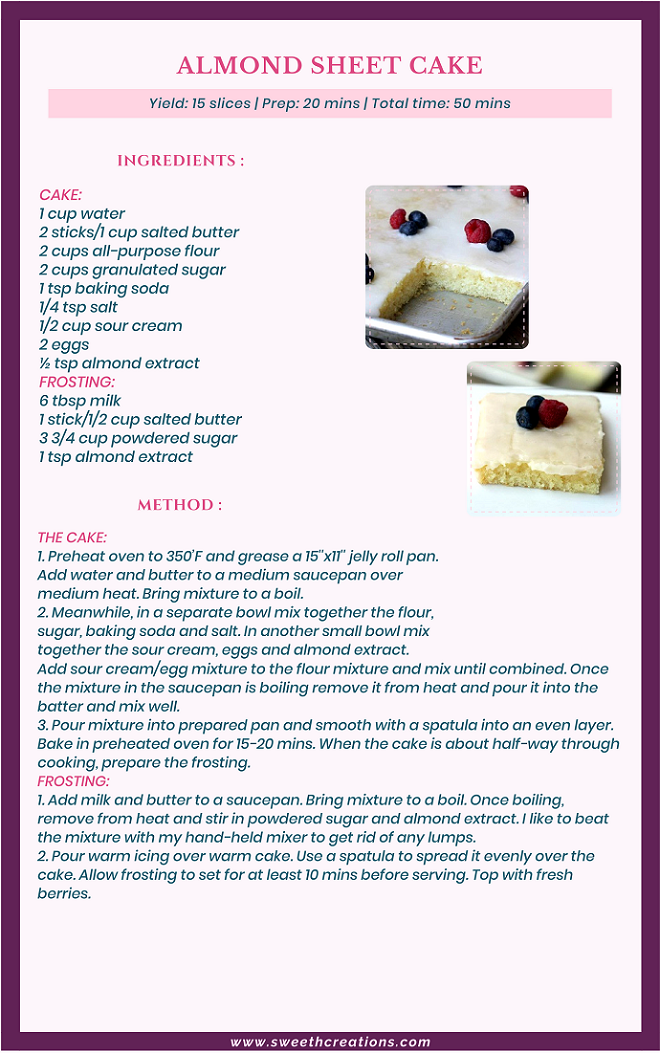 ALMOND SHEET CAKE RECIPE