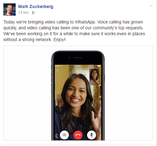 Whatsapp add Video calling to highlights