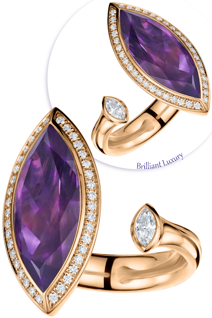 Andrew Geoghegan Satellite Marquis 5ct amethyst diamond ring #brilliantluxury